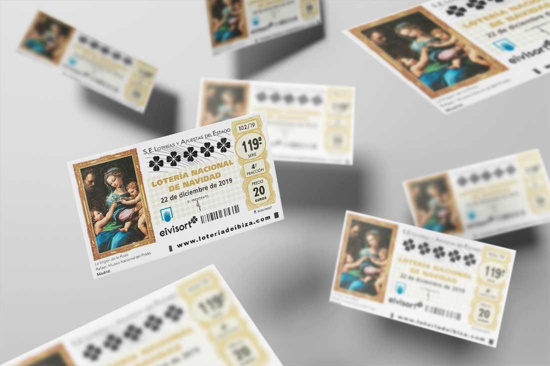 imagen con décimos de lotería de navidad 2019 volando