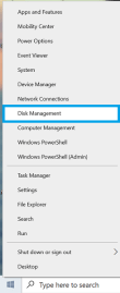 Right click on start menu to select disk Management