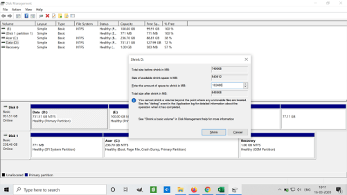 Shrink drive to create free space to transfer to another partition