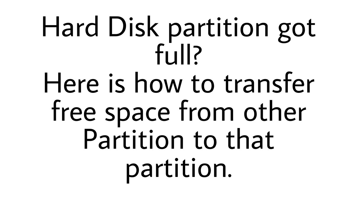 transfer space from one partiton to another