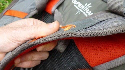 Reduced padding on shoulder straps