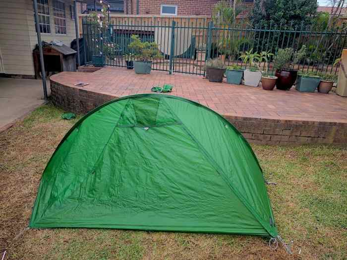 Green hiking tent in backyard