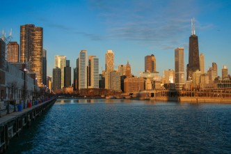 The Chicago skyline from Navy Pier at dawn | LotsaSmiles Photography