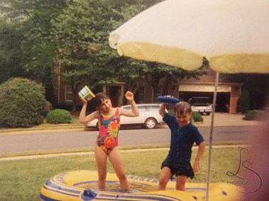 Raft-turned-wading-pool. This was quite common in our front yard