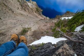 Yep, those are my feet dangling over the lake faaaar below
