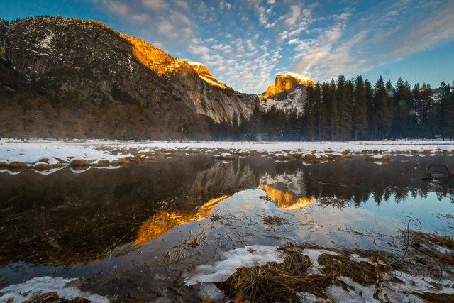 Dusk in Yosemite, with Half Dome perfectly reflected in the water   LotsaSmiles Photography