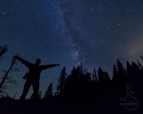 Silhouette of Aaron in front of the Milky Way | LotsaSmiles Photography