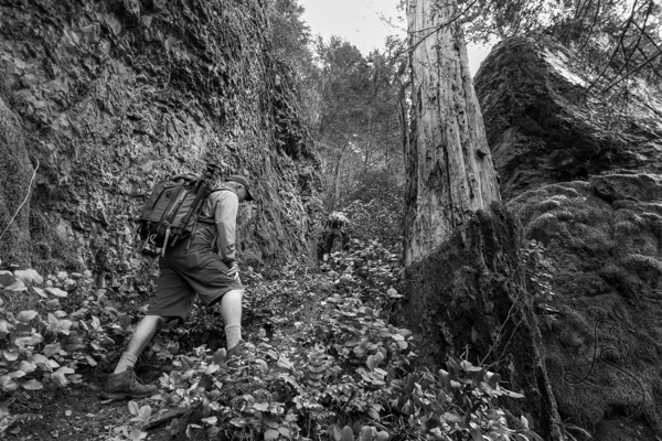 Hiker ascending a steep incline | LotsaSmiles Photography