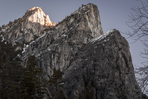 Moody shot of the peaks of Yosemite's Three Brothers | LotsaSmiles Photography