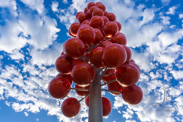 Red balloon art installation in South Waterfront, Portland | LotsaSmiles Photography
