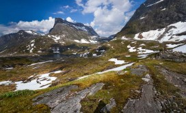A chilly lake sits high in the Norwegian landscape