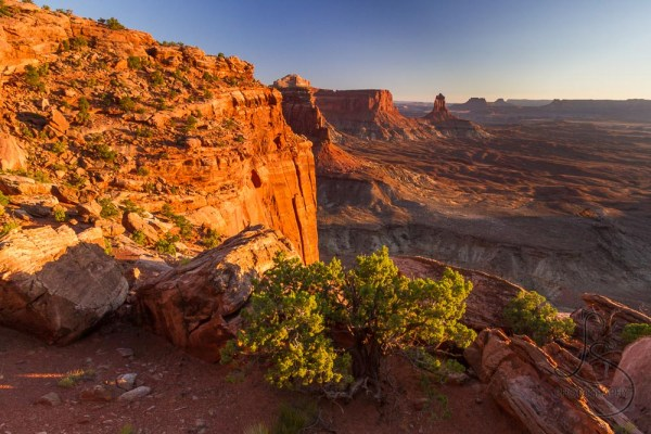 The sun sets over Canyonlands National Park.
