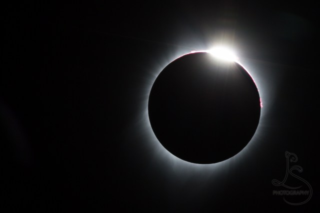 "A ""diamond ring"" eclipse, with the sun just beginning to return from totality 