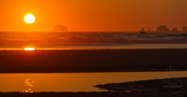 Sun setting on the Washington coast in Olympic National Park | LotsaSmiles Photography