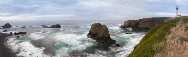 Waves crash against the shore at the Yaquina Lighthouse near Newport, Oregon | LotsaSmiles Photography