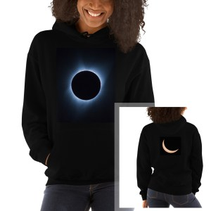 Hoodie with eclipse pictures printed on front and back | LotsaSmiles Photography