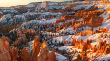 Sunrise touches the tips of the myriad hoodoos in Bryce Canyon National Park