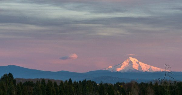 An airplane flying into the distance over a sunset-lit, snowcapped Mount Hood | LotsaSmiles Photography