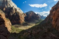 Deep shadows stretch across the valley on Zion's Angels Landing trail