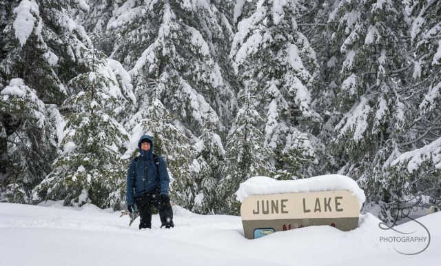 Aaron by the snow-submerged trailhead sign at June Lake | LotsaSmiles Photography