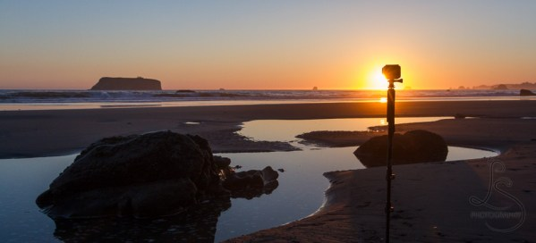 GoPro mounted on a monopod and stuck in the sand on the beach at sunset   LotsaSmiles Photography