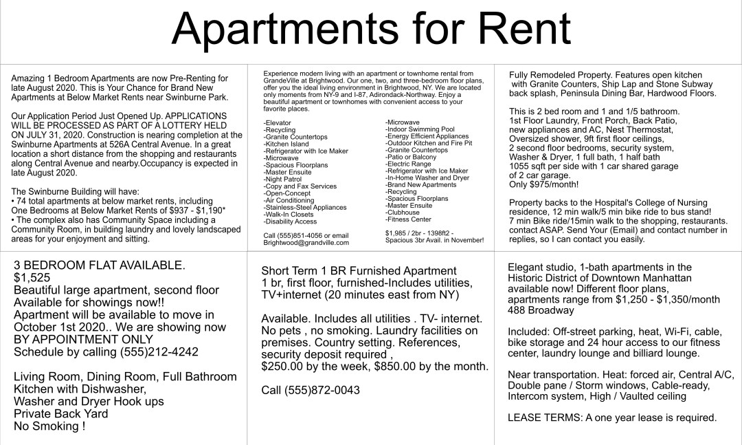 Finding a new apartment