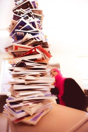 Beginner Level English - Student & Stack of Books