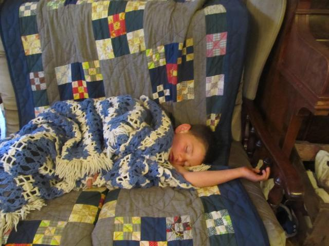 This one got up at the same time I did this morning, two hours earlier than usual, because he had a bad dream and couldn't go back to sleep.  He had most of his school done before breakfast!