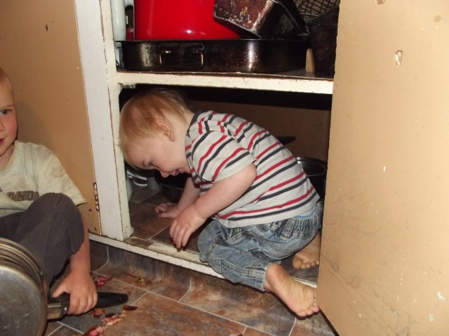 Into the pot cupboard!