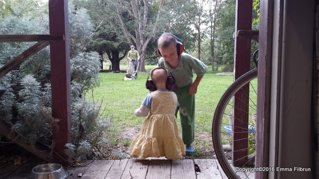 Mr. Handyman was mowing lawn, and outfitted Little Miss and Mr. Sweetie with ear protection.