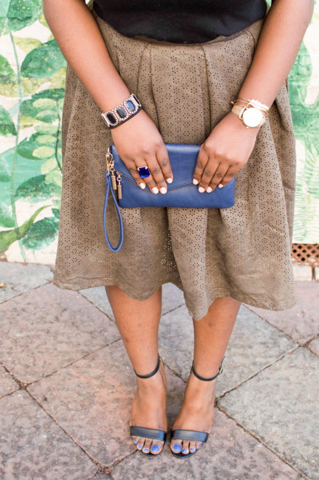 Green skirt + accessories