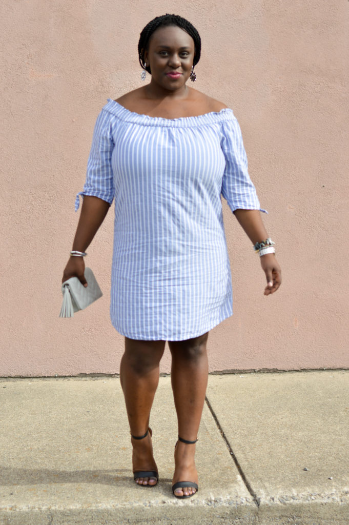 Blue + White stripes dress