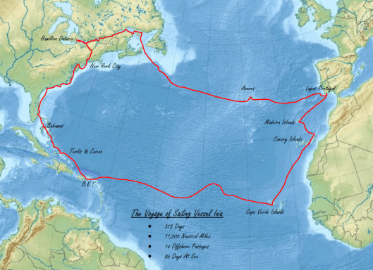 Map of SV Inia Voyage