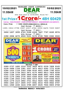 Lottery Sambad 11:55 am 10/02/2021 Morning Sikkim State Lottery Result Pdf Download