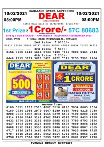 Lottery Sambad Live Result 8pm 10/02/2021 Evening Nagaland State Lottery Result Pdf Download