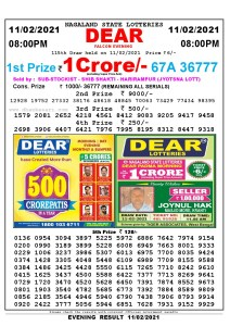 Lottery Sambad Live Result 8pm 11/02/2021 Evening Nagaland State Lottery Result Pdf Download