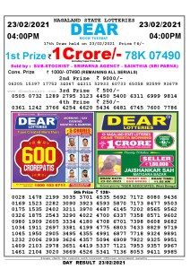 Lottery Sambad Live today 4pm 23/02/2021 Nagaland State Lottery Result Pdf File Download