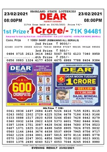 Lottery Sambad Live Result 8pm 23/02/2021 Evening Nagaland State Lottery Result Pdf Download