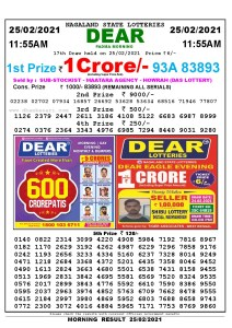 Lottery Sambad 11:55 am 25/02/2021 Morning Sikkim State Lottery Result Pdf Download