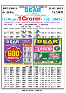 Lottery Sambad Live today 4pm 25/02/2021 Nagaland State Lottery Result Pdf File Download
