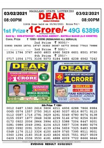 Lottery Sambad Live Result 8pm 03/02/2021 Evening Nagaland State Lottery Result Pdf Download