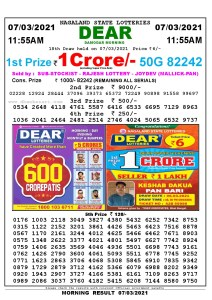 Lottery Sambad 11:55 am 07/03/2021 Morning Sikkim State Lottery Result Pdf DownloadLottery Sambad 11:55 am 07/03/2021 Morning Sikkim State Lottery Result Pdf Download