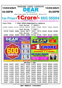 Lottery Sambad Live today 4pm 13/03/2021 Nagaland State Lottery Result Pdf File Download