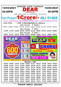 Lottery Sambad Live Result 8pm 14/03/2021 Evening Nagaland State Lottery Result Pdf Download