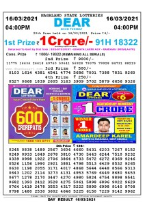 Lottery Sambad Live today 4pm 16/03/2021 Nagaland State Lottery Result Pdf File Download