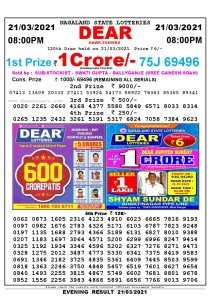 Lottery Sambad Live Result 8pm 21/03/2021 Evening Nagaland State Lottery Result Pdf Download