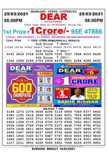Lottery Sambad Live Result 8pm 25/03/2021 Evening Nagaland State Lottery Result Pdf Download