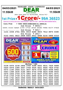 Lottery Sambad 11:55 am 04/03/2021 Morning Sikkim State Lottery Result Pdf Download