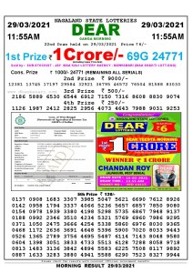 Lottery Sambad 11:55 am 26/03/2021 Morning Sikkim State Lottery Result Pdf DownloadLottery Sambad 11:55 am 29/03/2021 Morning Sikkim State Lottery Result Pdf Download