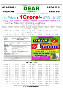 Lottery Sambad Live today 4pm 05/04/2021 Nagaland State Lottery Result Pdf File Download